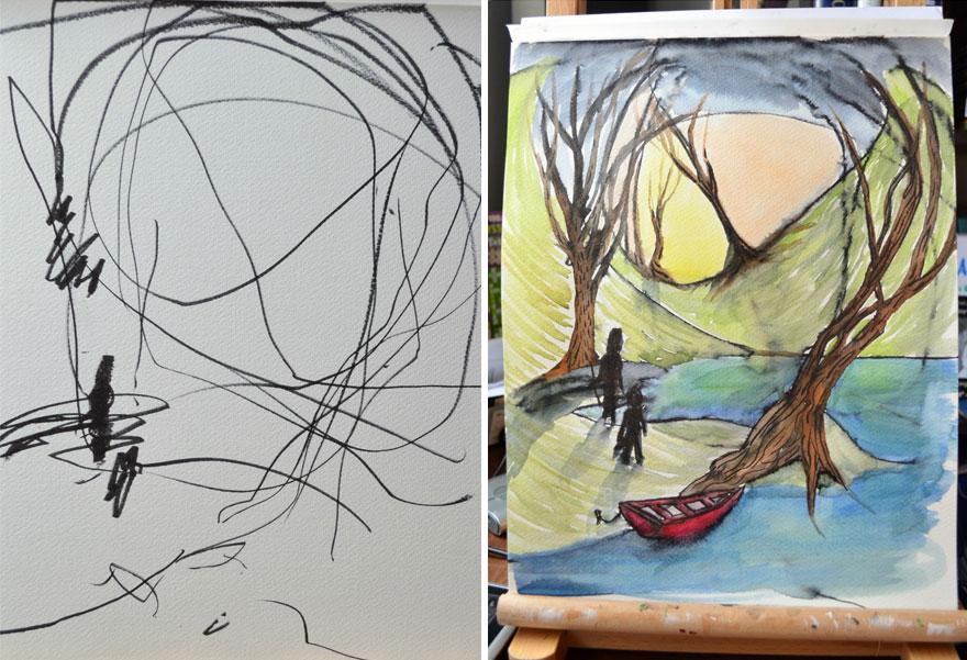 otec pretvara kresby dcery4