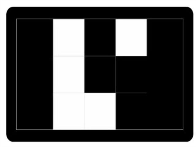 Prezrite si dobre druhý obrázok a určte, ktorý štvorec je biely na tomto a bol biely aj na predchádzajúcom obrázku. Potom stlačte OK.