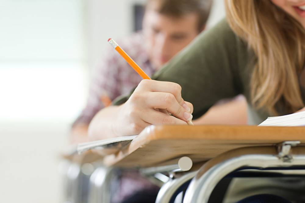Studious female high school student