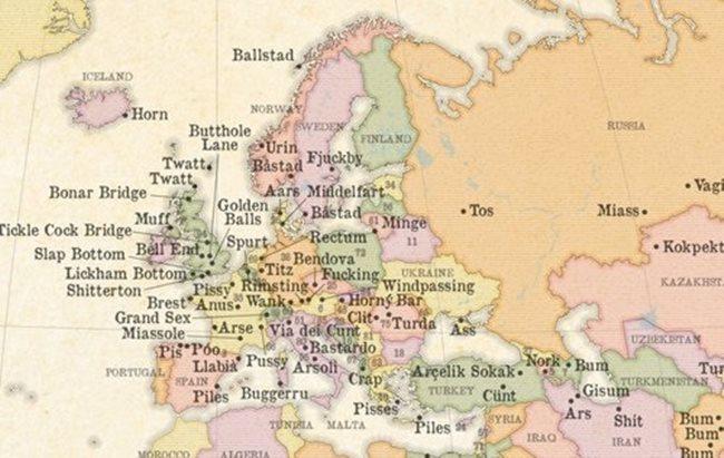 34a42a7ee Mapa s najoplzlejšími názvami miest na svete. Ktorá slovenská obec sa do nej  dostala?