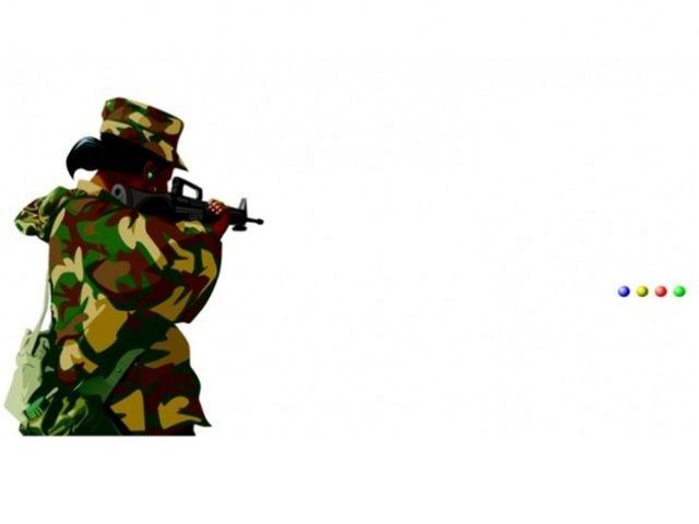 Na ktorý bod má vojak namierenú zbraň?