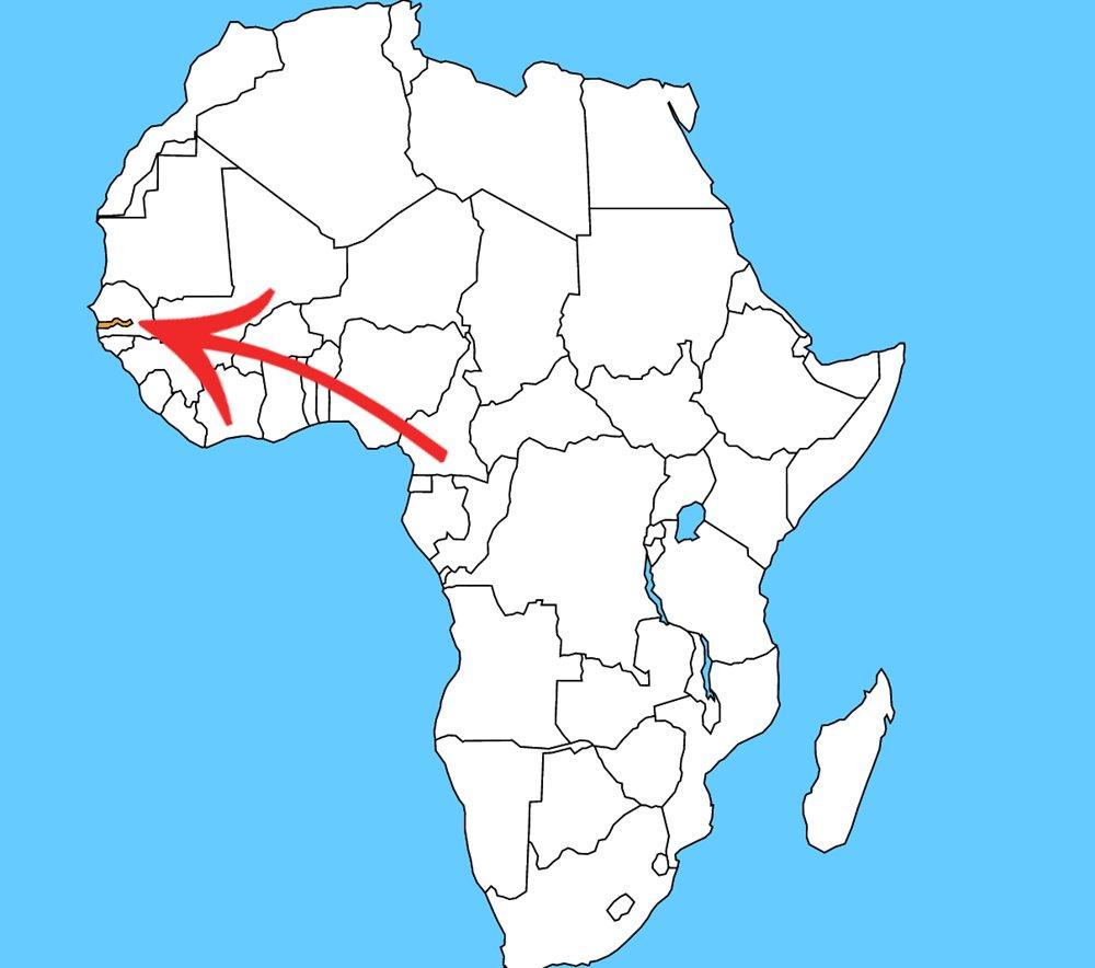 Najmenší africký štát s rozlohou iba 10 689 km². Je to: