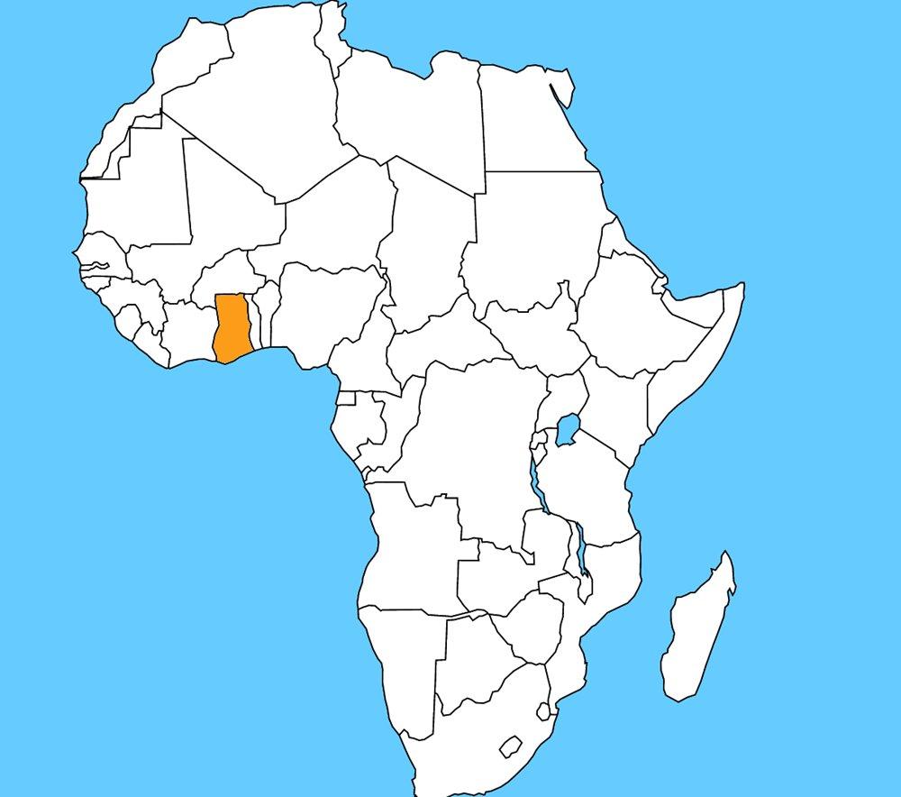 Hlavným mestom tejto krajiny je Akkra a hlavnou plodinou je kakao, ktorého bola kedysi najväčším svetovým exportérom. Je to: