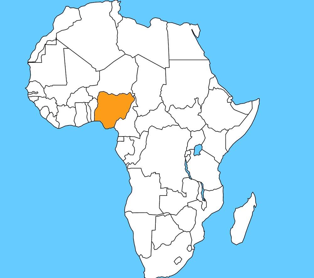 Najľudnatejšia africká krajina s počtom obyvateľov až 174 miliónov. Je to: