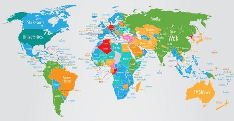 google mapa sveta Prehľadná mapa ukazuje, čo si myslia ľudia o jednotlivých  google mapa sveta