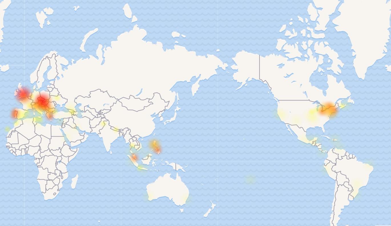 Mapa zobrazuje výpadky sociálnych sietí