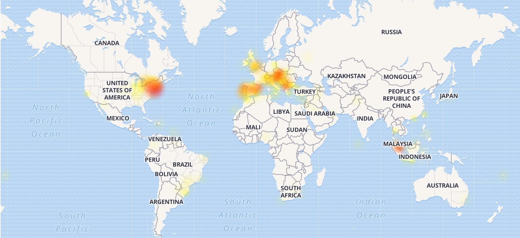 Mapa zobrazuje výpadky Instagramu