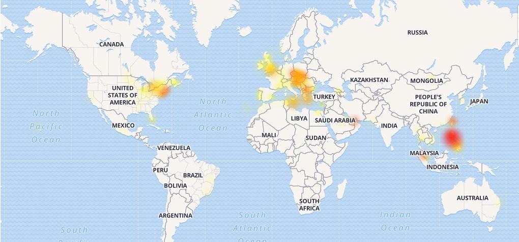 Mapa zobrazuje výpadky Messengeru