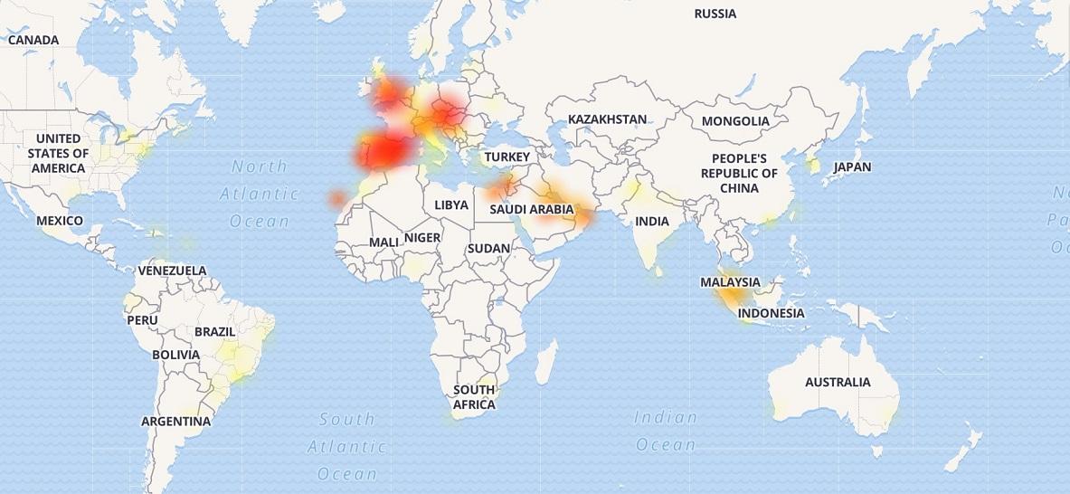 Mapa zobrazuje výpadky WhatsAppu
