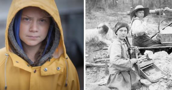 Greta Thunberg na fotografii z roku 1898. Archívna fotka ukazuje dvojníčku mladej aktivistky