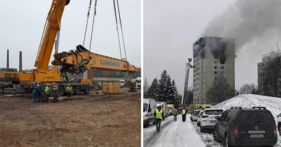 Toto je vyše 200-tonový kolos, ktorý bude búrať panelák v Prešove. Ide sem z Česka, na ceste sú dopravné obmedzenia