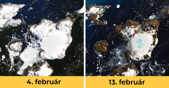 Satelitné snímky ukazujú mimoriadne topenie antarktického ľadu zo začiatku februára. Teplota dosahovala 20°C