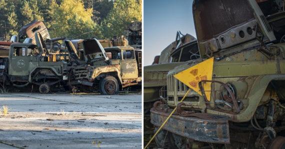 V Černobyle sa nachádza cintorín rádioaktívnych vozidiel používaných počas likvidácie. Niektoré sú dodnes nebezpečné