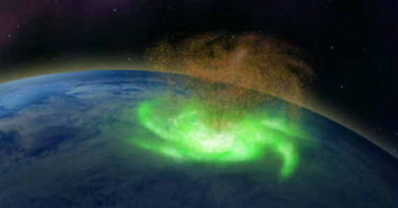 Po prvýkrát bol na Zemi pozorovaný vesmírny hurikán. Nad severným pólom z neho pršali elektróny